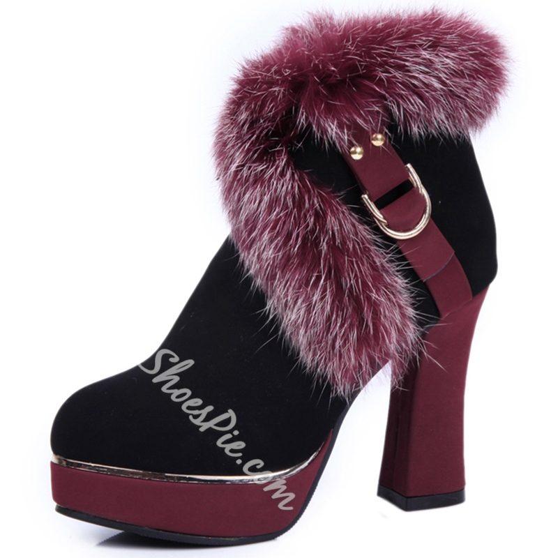 Shoespie Chic Furry Chunky Heel Snow Boots