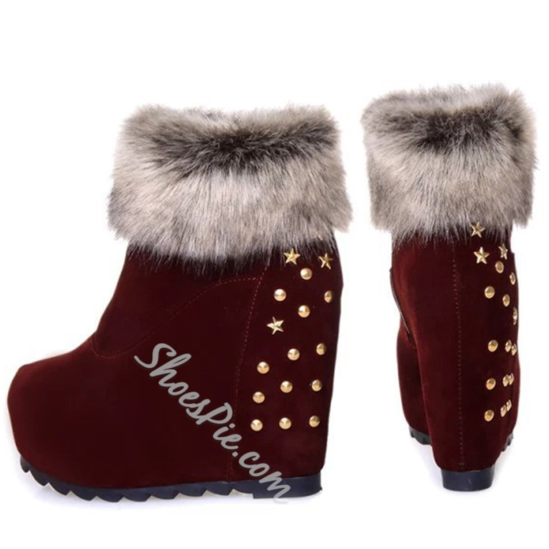 Shoespie Nubuck Furry Wedge Heel Snow Boots