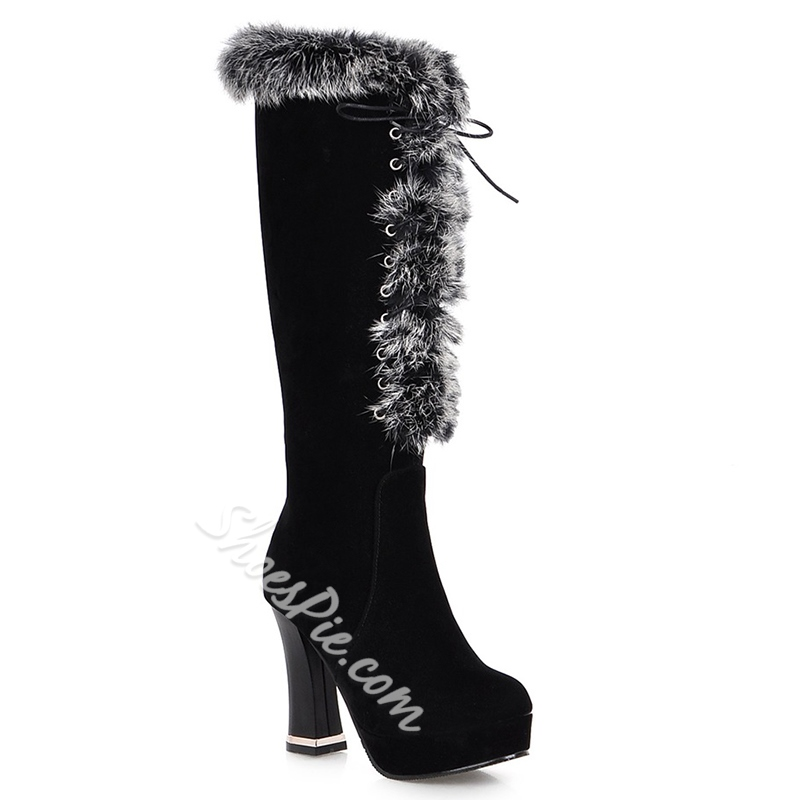 Shoespie Lovely Front Furry Block Heel Knee High Snow Boots