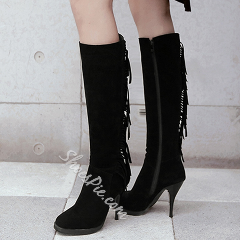 Shoespie Solid Color Fringe Low Heel Knee High Boots