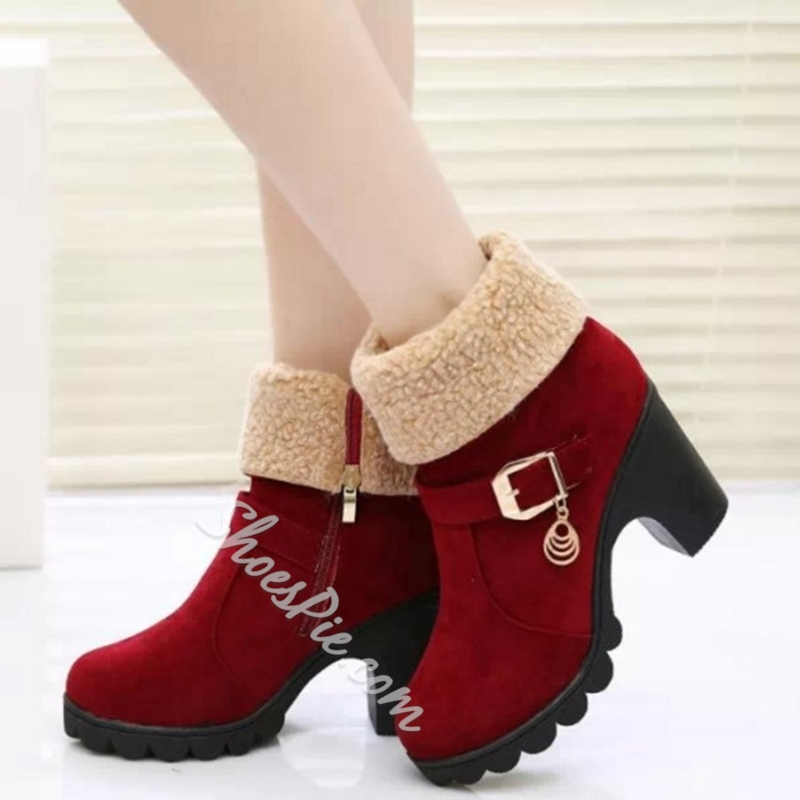 Shoespie Round Toe Block Heel Cheap Boots