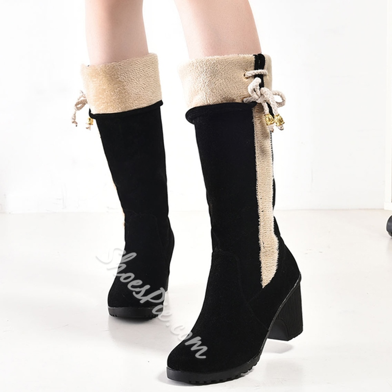 Shoespie Chic Contrast Color Patchwork Snow Boots