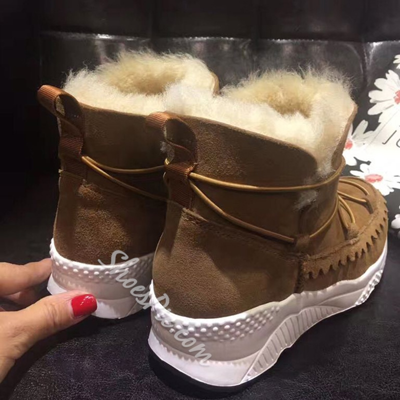Shoespie Solid Color Sporty Shearling Snow Boots