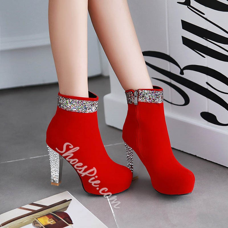 Shoespie Round Toe Sequine Heel Fashion Boots