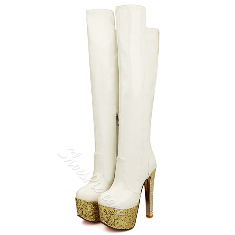 Shoespie Shine High Heel Thigh High Boots