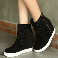 Shoespie Round Toe Side Zipper Street Ankle Boots