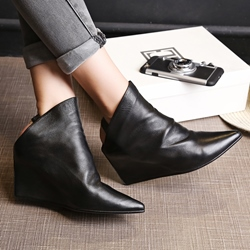 Shoespie Plain Black Pointed Toe Backless Fashion Boots