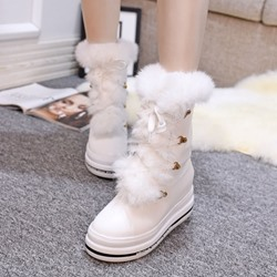 Shoespie Round Toe Furry Lace Up Snow Boots