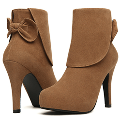 Shoespie Nubuck Round Toe Back Bow Platform Fashion Boots