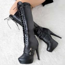 Shoespie Street Style Buckle Lace Up High Heel Boots