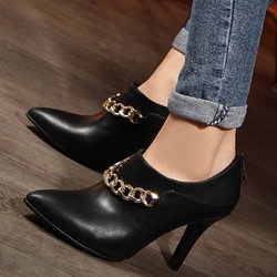 Shoespie Chain Pointed Toe Ankle Boots