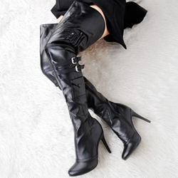 Shoespie Plain Black Thigh High Boots