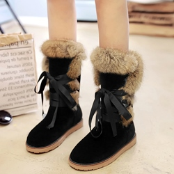 Shoespie Warm Round Toe Furry Snow Boots