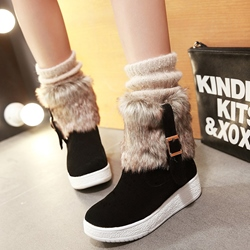 Shoespie Round Toe Furry Buckle Snow Boots