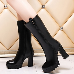Shoespie Black Front Zipper Chunky Heel Knee High Boots