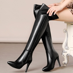 Shoespie Chic Plain Color Mid Stiletto Heel Knee High Boots
