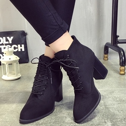 Shoespie Nubuck Block Heel Ridding Boots