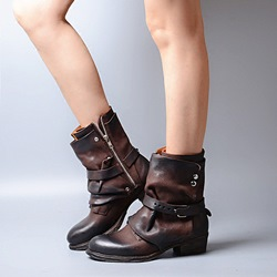 Shoespie Coffee Brush Buckle Warm Flat Boots