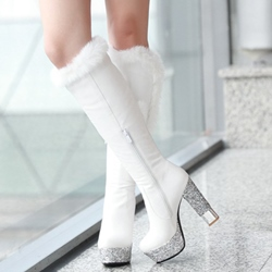 Shoespie Black & White Furry Block Heel Knee High Boots
