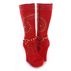 Shoespie Passionate Red Rivets Ankle Buckle Wedge Heel Fashion Boots