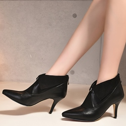Shoespie Pointed Toe Buckle Mid Heel Ankle Boots