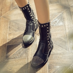 Shoespie Black Round Toe Rivets Fashion Boots