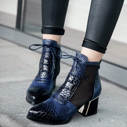 Shoespie Snake Pattern Shoes Lace-Up Fall Boots