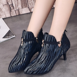 Shoespie All Sequine Ankle Buckle Fashion Booties