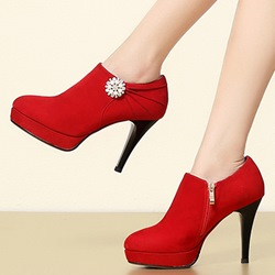 Shoespie Chic Jewelled Platform Ankle Boots
