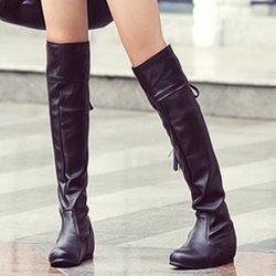 Shoespie Round Toe Tie Back Flat Boots
