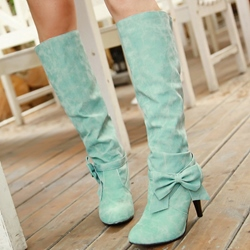 Shoespie Ankle Bow Pointed Toe Mid Heel Knee High Boots