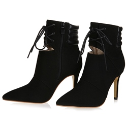 Shoespie Chic Lace Up Cut Out Ankle Boots