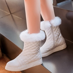Shoespie Furry Plaid Flat Boots