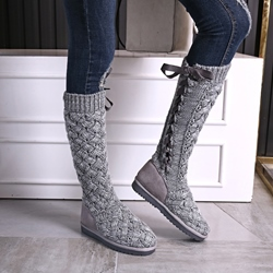 Shoespie Fashion Woolen Ribbon Lace Up Flat Boots