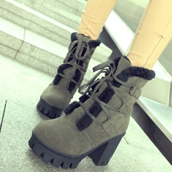 Shoespie Round Toe Lace Up Block Heel Snow Boots
