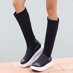 Shoespie Plain Black Round Toe Platform Knee High Boots