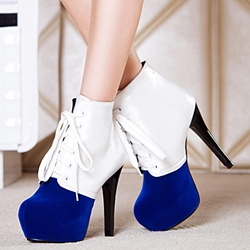 Shoespie Two Tone Color Block Platform Ankle Boots