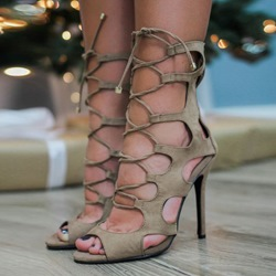 Shoespie Laser Cut Lace Up Sandals