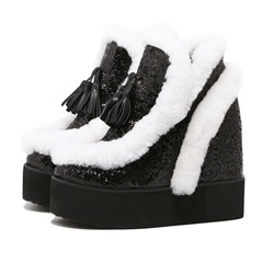 Shoespie Platform Furry Sneakers