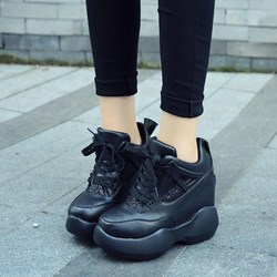 Shoespie Thick Outsole Lace Up Fashion Sneakers