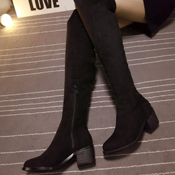 Shoespie Plain Round Toe Low Heel Knee High Boots