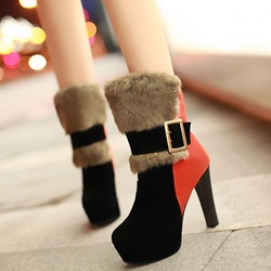 Shoespie Contrast Color Round Toe Furry Ankle Boots