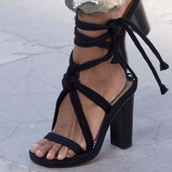 Shoespie Black Lace Up Chunky Heel Sandals