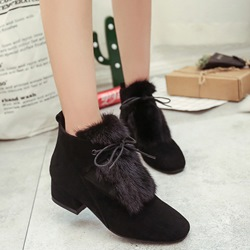 Shoespie Black Furry Lace Up Snow Boots