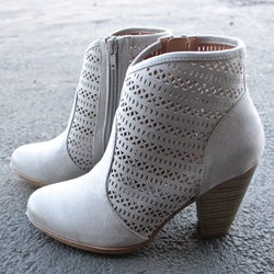Shoespie Gray Suede-like Laser Cut Block Heel Ankle Boots