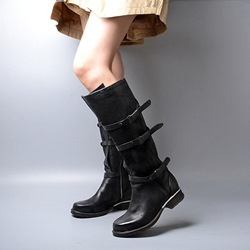 Shoespie Vintage Brush Off Round Toe Buckle Flat Boots
