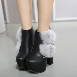 Shoespie Black Round Toe Furry Chunky Heel Ankle Boots