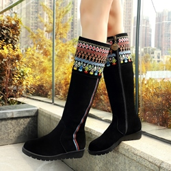 Shoespie Boho Style Printed Flat Boots
