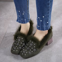 Shoespie Round Toe Sequined Low Heels