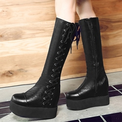 Shoespie Round Toe Platform Knee High Boots
